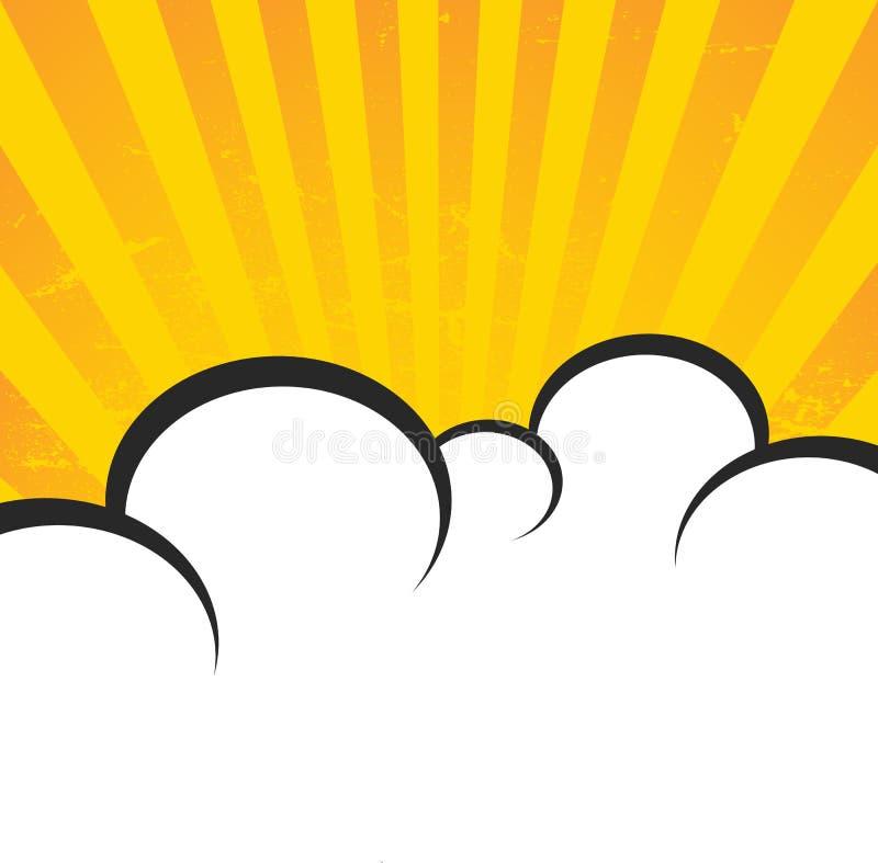 Винтажная бумага, ретро предпосылка лучей, поцарапанная текстура, шуточные облака и лучи солнца План плаката вектора в цвете золо бесплатная иллюстрация