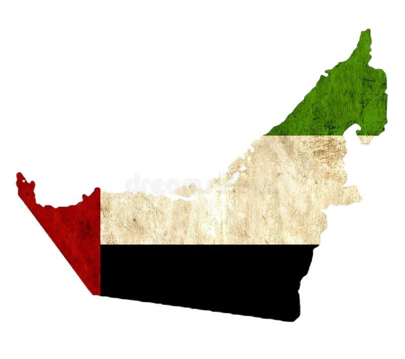 Винтажная бумажная карта Объениненных Арабских Эмиратов иллюстрация вектора