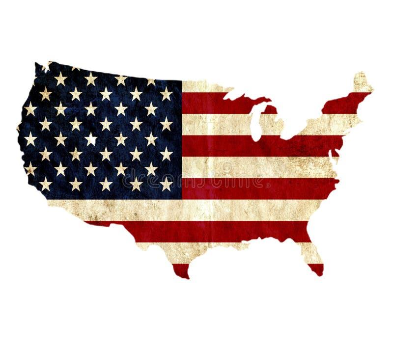 Винтажная бумажная карта Соединенных Штатов Америки иллюстрация штока
