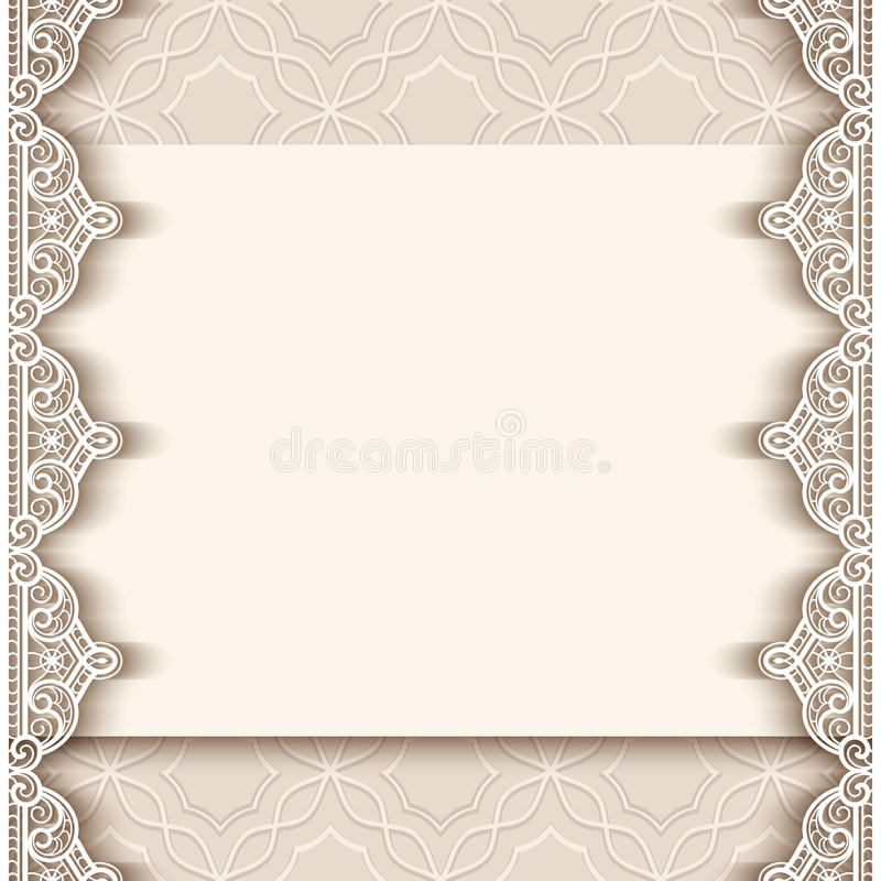 Винтажная бумажная предпосылка с границами шнурка иллюстрация штока