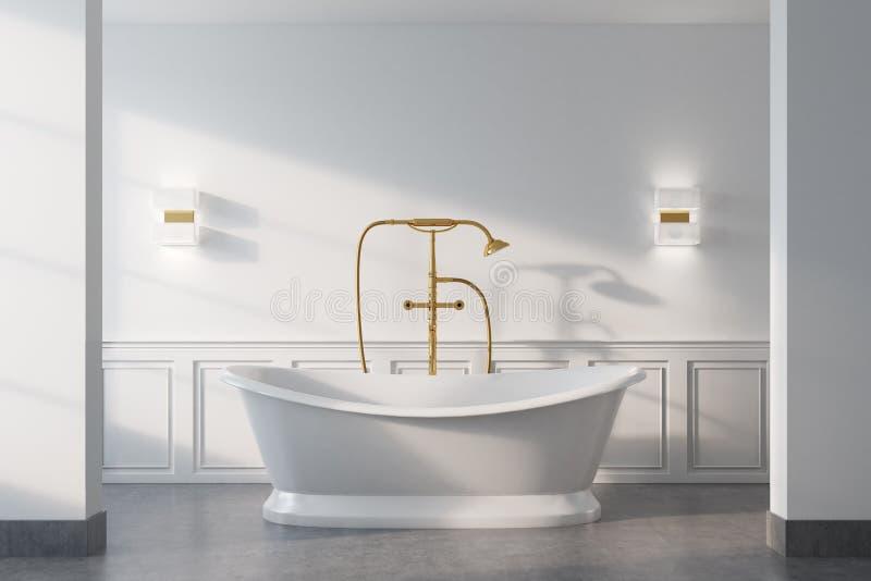 Винтажная ванная комната, белый ушат, конец вверх бесплатная иллюстрация