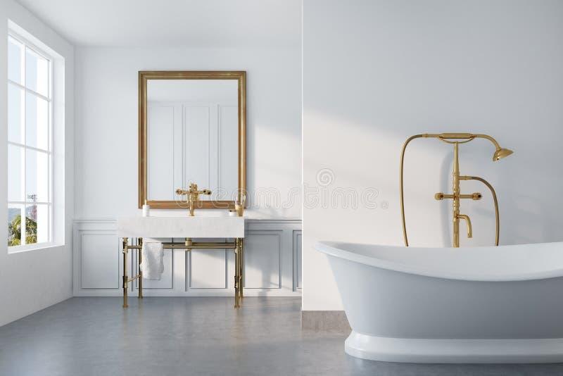 Винтажная ванная комната, белый ушат, раковина иллюстрация штока