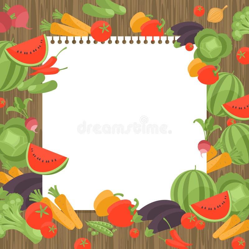 Винтажная варя страница рецепта книги с овощами иллюстрация вектора