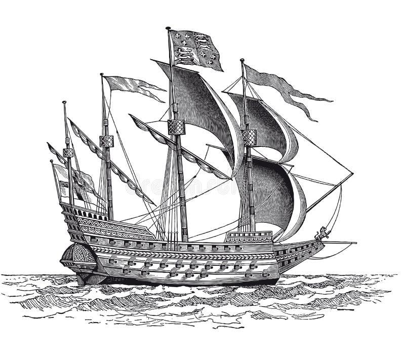 Винтажная великобританская гравировка корабля войны иллюстрация вектора