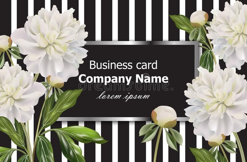Винтажная визитная карточка с белым пионом цветет на striped предпосылке Оформление вектора реалистическое флористическое, иллюст бесплатная иллюстрация