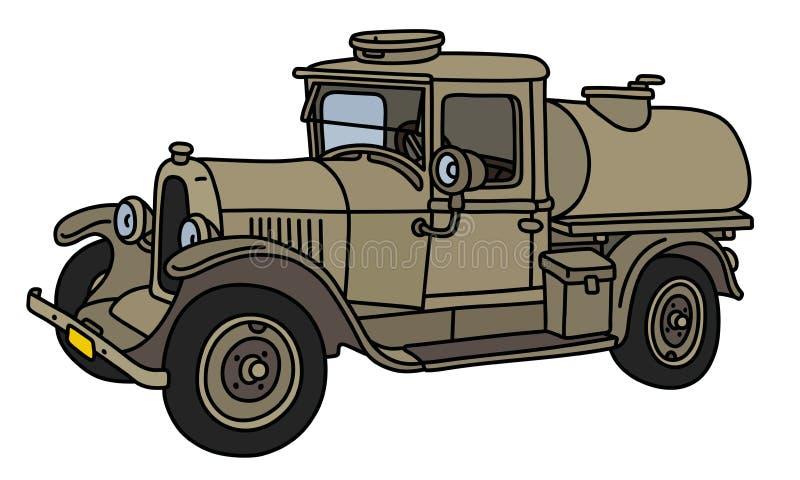Винтажная воинская тележка танка иллюстрация штока