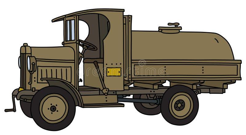 Винтажная воинская тележка танка иллюстрация вектора