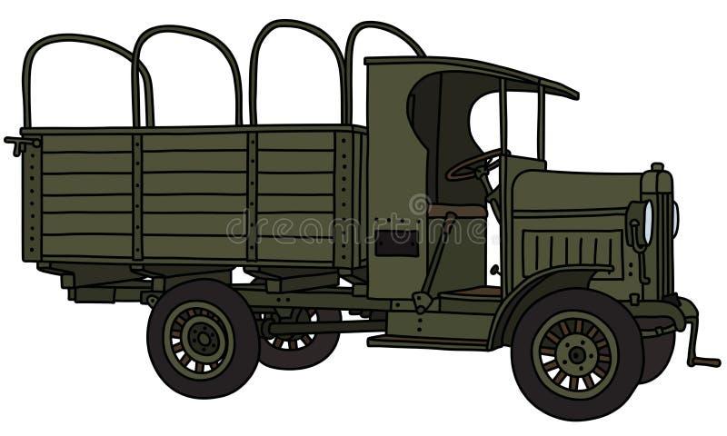 Винтажная воинская тележка иллюстрация штока