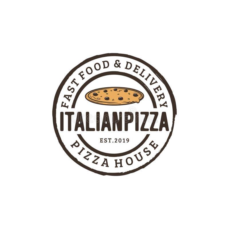 Винтажная воодушевленность дизайна логотипа пиццы - иллюстрация вектора иллюстрация штока