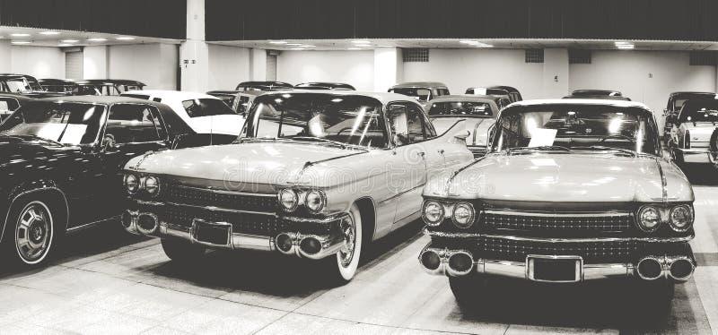 Винтажная выставка античных автомобилей стоковое фото rf