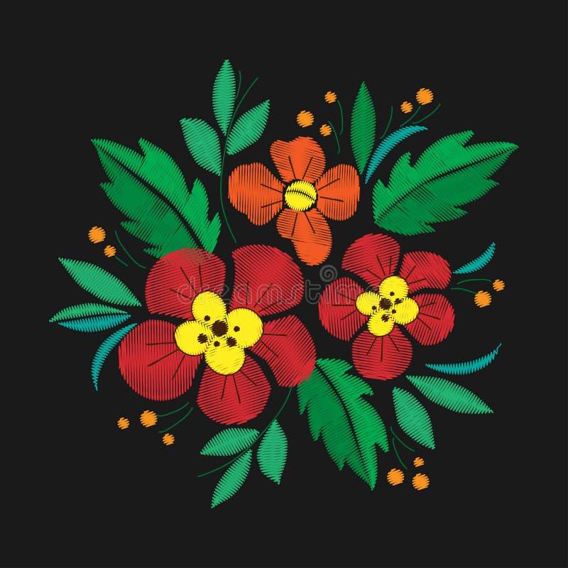 Винтажная вышивка состава цветка Элементы дизайна одежды иллюстрация штока