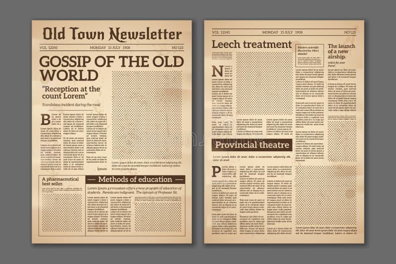 Винтажная газета Дизайн журнала газетной бумаги новостных статей старый Страницы газеты брошюры Бумажный ретро вектор журнала иллюстрация штока