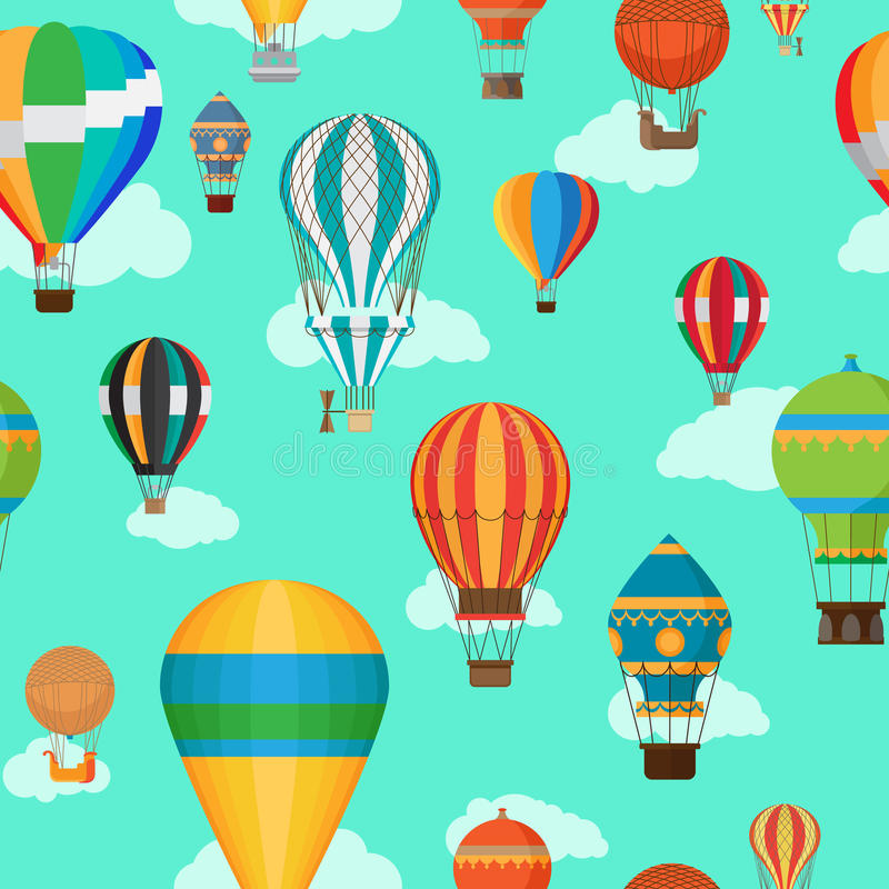 Винтажная горячая картина воздушных шаров безшовная иллюстрация штока