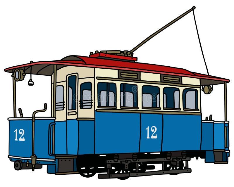 Винтажная голубая трамвайная линия бесплатная иллюстрация