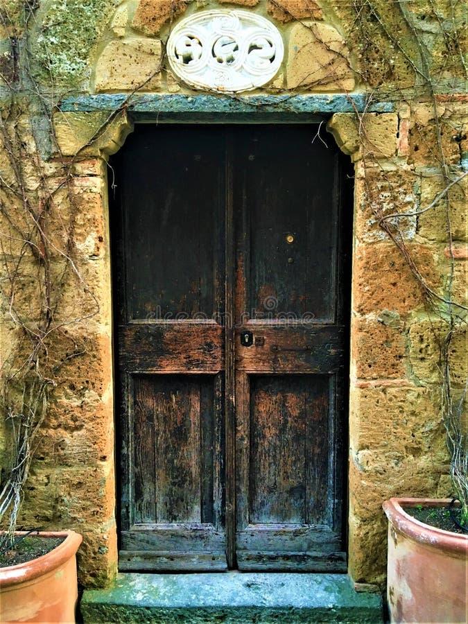 Винтажная дверь и угол, заводы, ветви и сказка в Civita di Bagnoregio, городке в провинции Витербо, Италии стоковое изображение