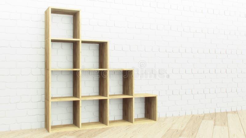 Винтажная деревянная кирпичная стена полок, больший дизайн для всех целей 3d представляют дизайн Украшение архитектуры Каменная с иллюстрация штока
