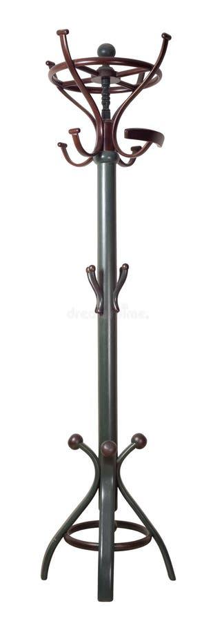 Винтажная деревянная темная ая-зелен и коричневая покрашенная стойка вешалки изолированная на белой предпосылке включая путь клип стоковое фото rf