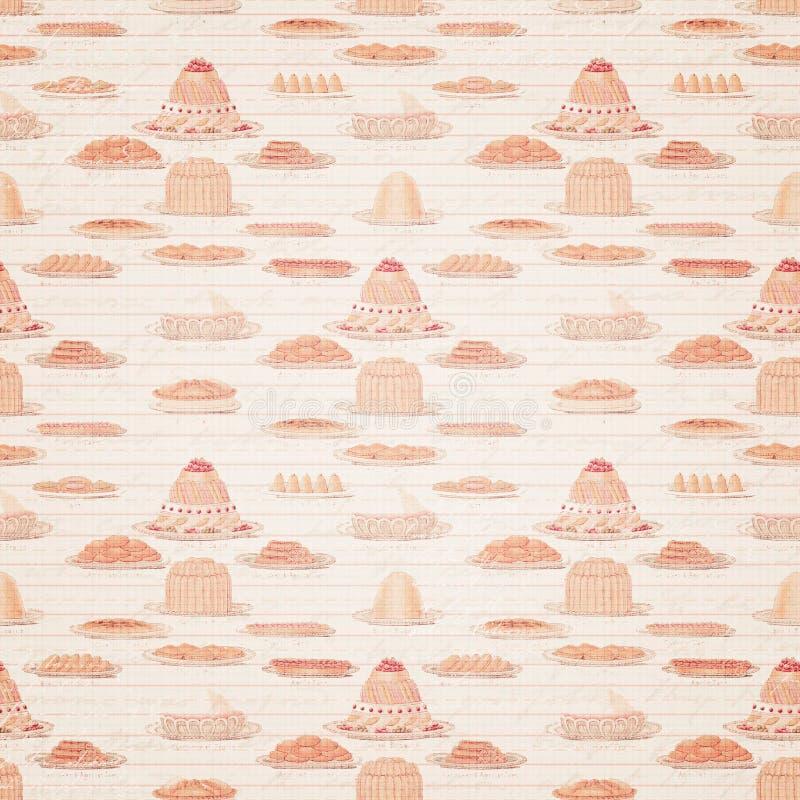 Винтажная декоративная бумага с тортами стоковые изображения rf
