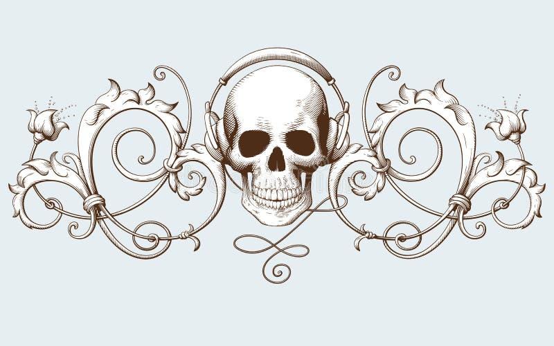 Винтажная декоративная гравировка элемента с барочной картиной орнамента и череп с наушниками иллюстрация вектора