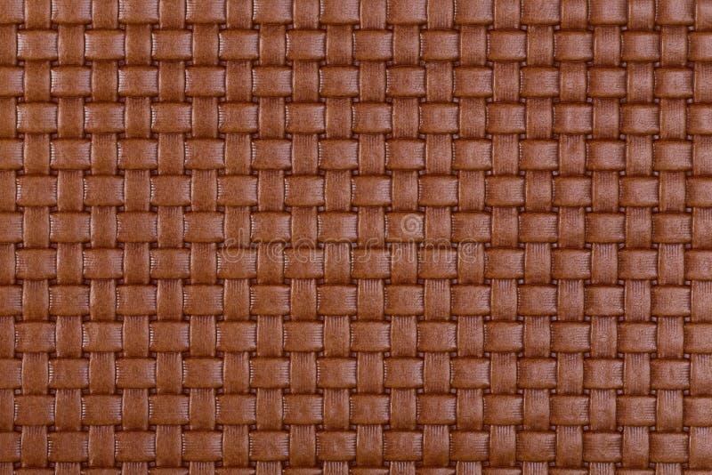 Винтажная естественная коричневая заплетенная кожаная текстура стоковое фото rf