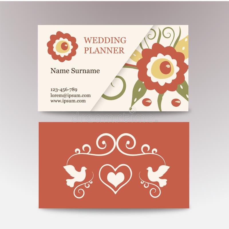 Винтажная женская визитная карточка шаблона Улучшите для плановика свадьбы, флориста, салона красоты Визитные карточки вектора с бесплатная иллюстрация