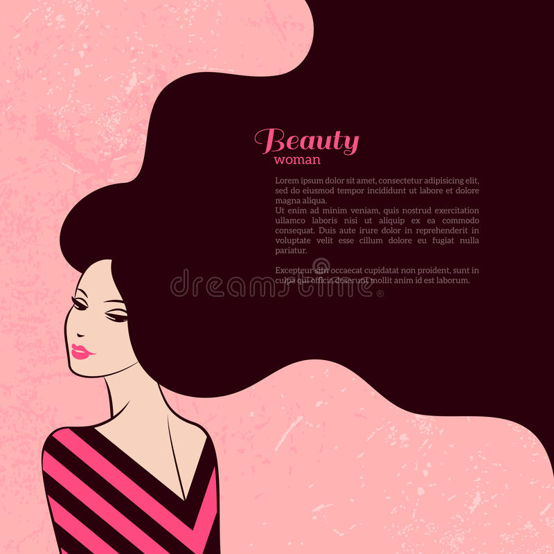 Винтажная женщина моды с длинными волосами бесплатная иллюстрация
