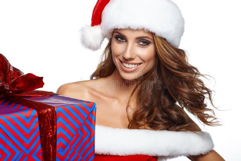 Винтажная женщина рождества изолированная на белизне стоковое фото