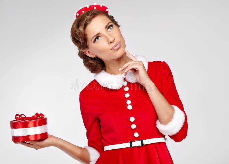 Винтажная женщина рождества стоковое изображение rf