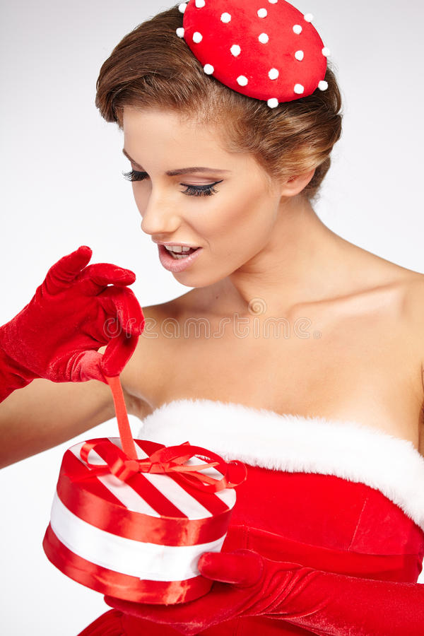 Винтажная женщина рождества стоковые изображения