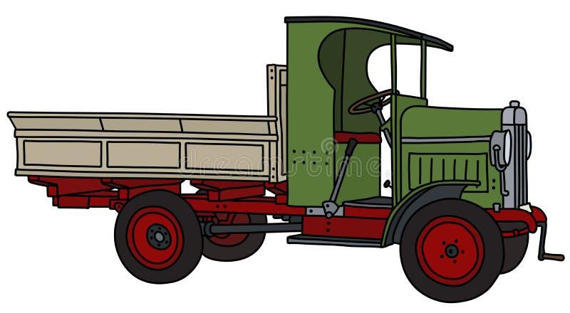 Винтажная зеленая тележка иллюстрация вектора