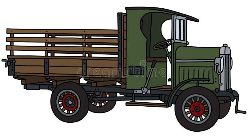 Винтажная зеленая тележка бесплатная иллюстрация