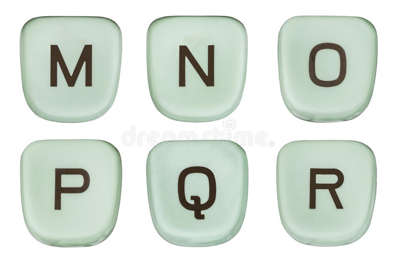 Винтажная зеленая машинка пользуется ключом письма m через r стоковая фотография rf