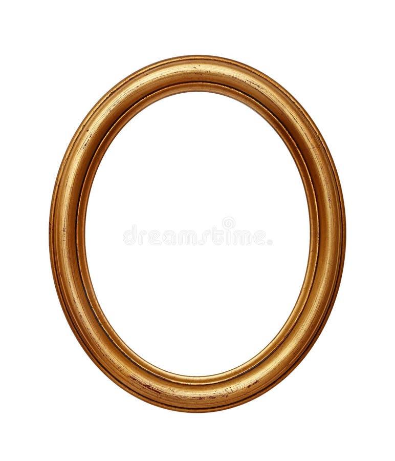 Винтажная золотая овальная круглая картинная рамка стоковая фотография rf