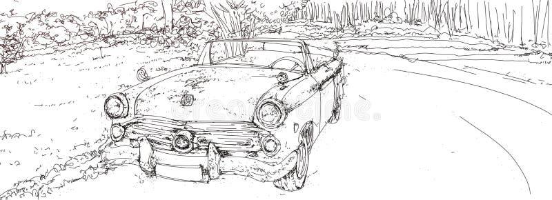 винтажная иллюстрация автомобилей 50s бесплатная иллюстрация
