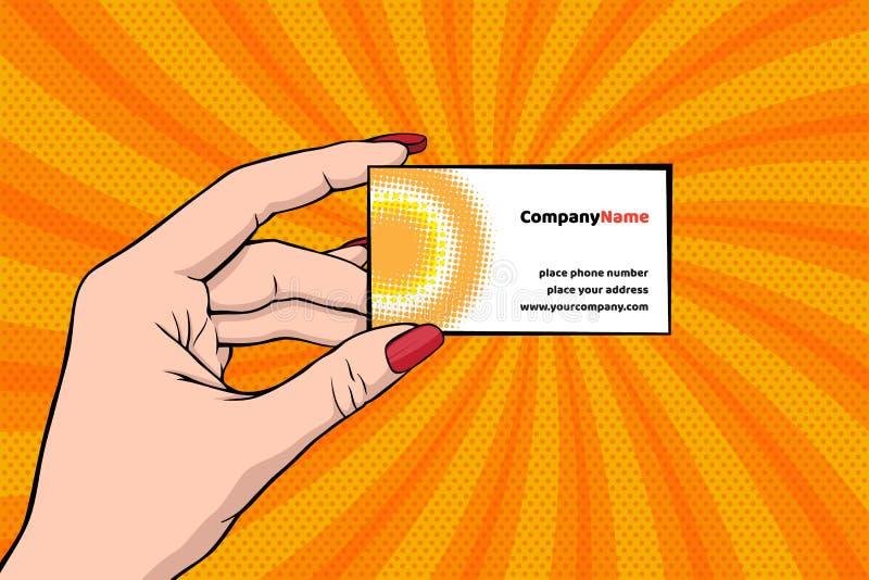 Винтажная иллюстрация вектора в стиле искусства шипучки при рука ` s женщины держа шаблон визитной карточки иллюстрация вектора