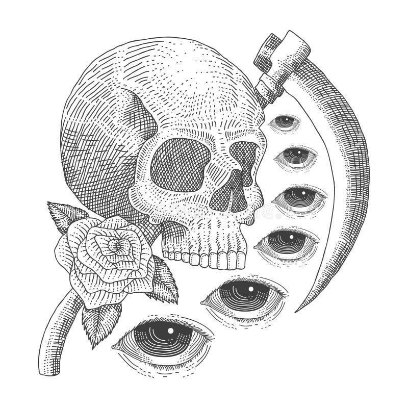 Винтажная иллюстрация вектора смерти глаза черепа стоковое фото