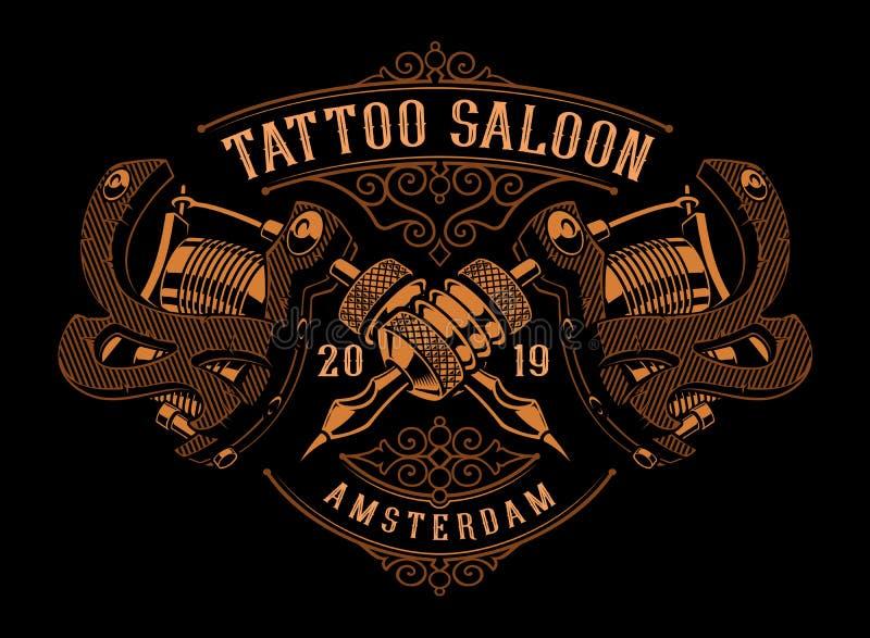 Винтажная иллюстрация машин татуировки на темной предпосылке бесплатная иллюстрация