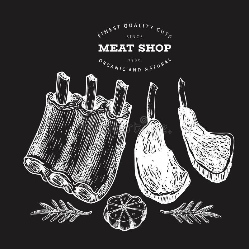 Винтажная иллюстрация мяса вектора на доске мела Нервюры, специи и травы руки вычерченные Сырцовые пищевые ингредиенты Ретро эски бесплатная иллюстрация