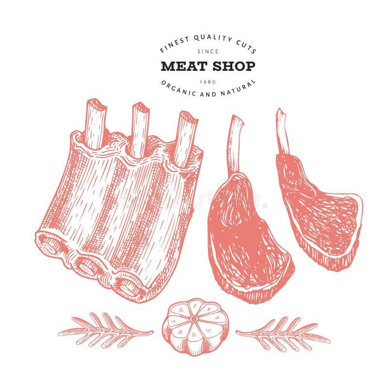 Винтажная иллюстрация мяса Нервюры, специи и травы руки вычерченные Сырцовые пищевые ингредиенты Ретро эскиз Может быть польза дл иллюстрация вектора