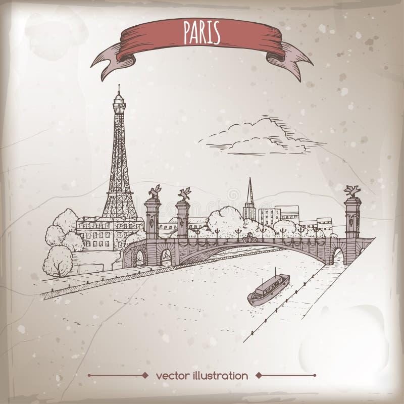 Винтажная иллюстрация перемещения с мостом Эйфелевой башни и Pont Александр в Париже, Франции Эскиз нарисованный рукой иллюстрация вектора