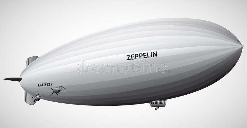 Винтажная иллюстрация вектора дирижабельного воздушного шара Зеппелина дирижабля стоковое фото