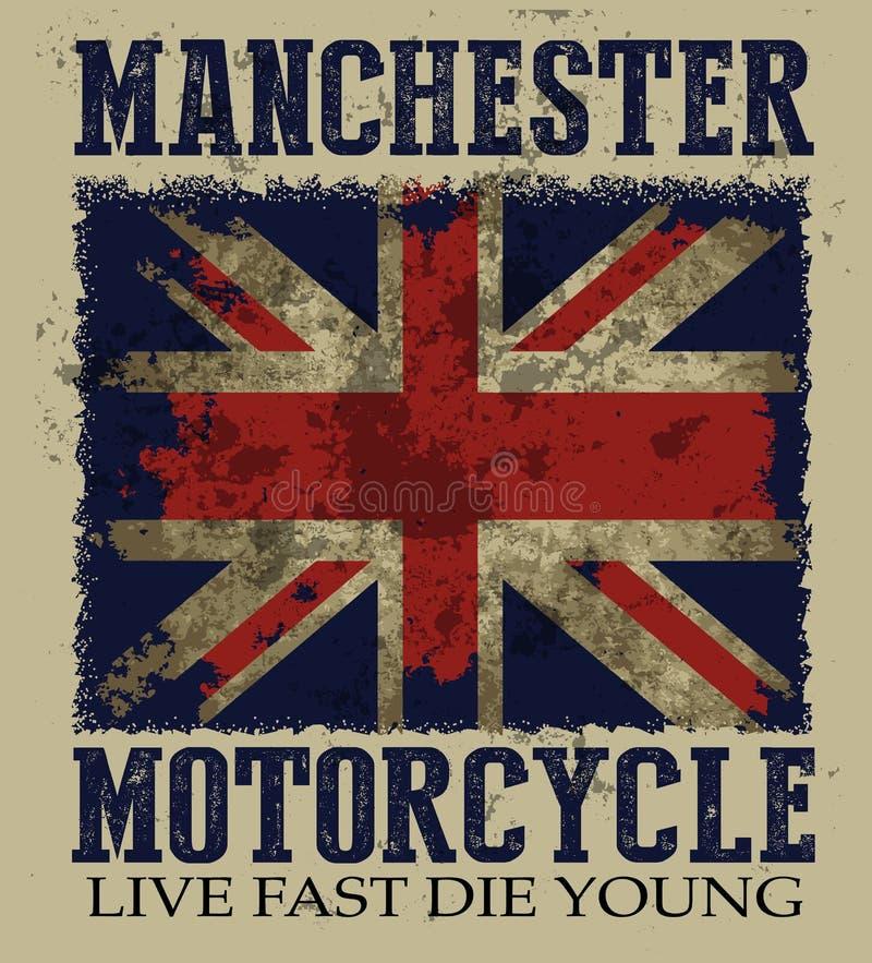 Винтажная иллюстрация вектора на теме великобританского motorcyc иллюстрация штока