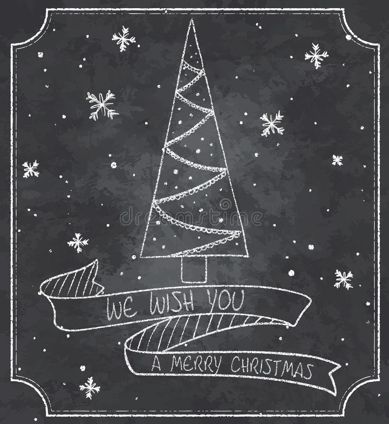 Винтажная иллюстрация поздравительной открытки рождества доски с рождественской елкой, снежинками и знаменем ленты иллюстрация штока