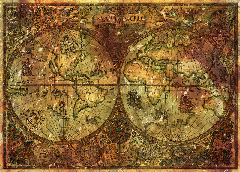 Винтажная иллюстрация с картой атласа античного мира на старом пергаменте иллюстрация вектора