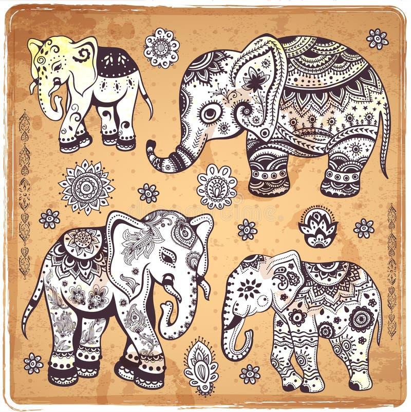 Download Винтажная иллюстрация слона Иллюстрация вектора - иллюстрации насчитывающей handmade, ornate: 40592058