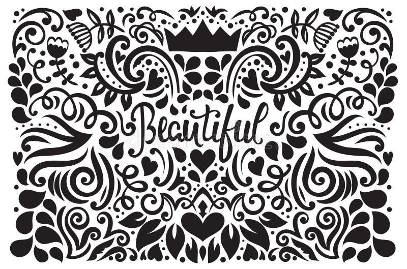 Винтажная иллюстрация флористического орнамента иллюстрация штока