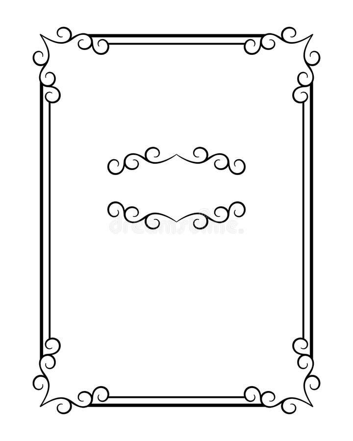 Винтажная каллиграфическая рамка прямоугольника с swirly углами иллюстрация вектора