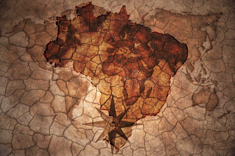 Винтажная карта Бразилии иллюстрация штока