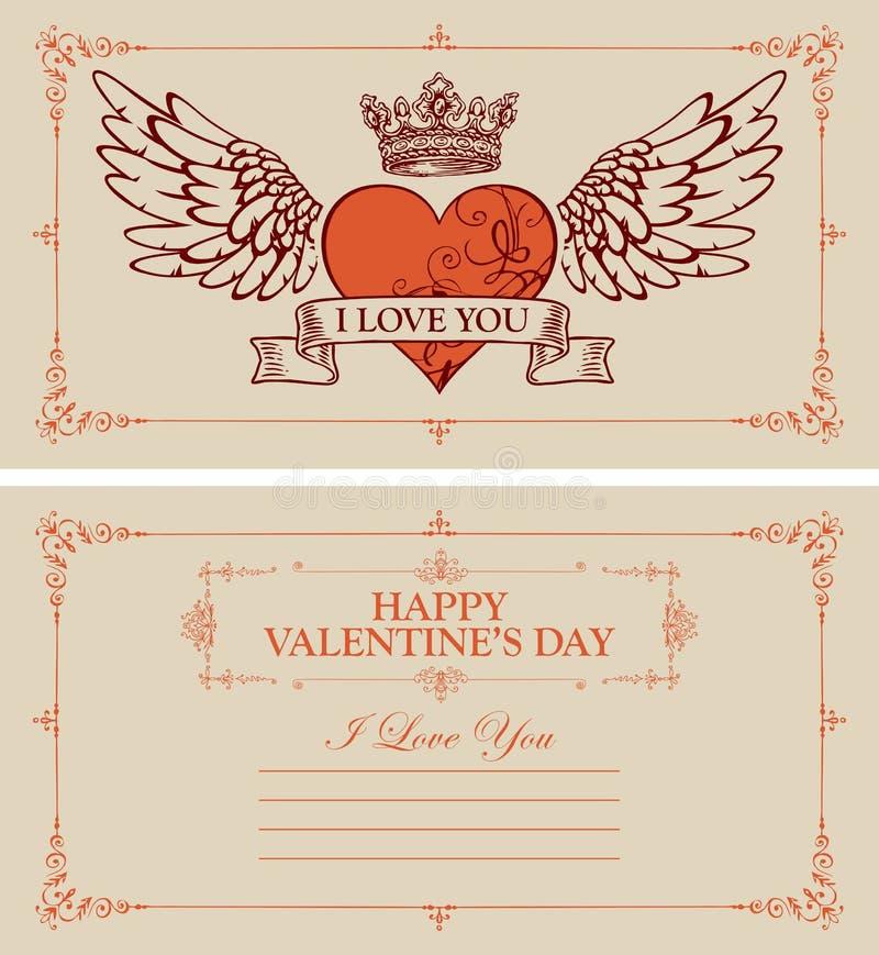 Винтажная карта Валентайн с красными сердцем и крыльями иллюстрация штока