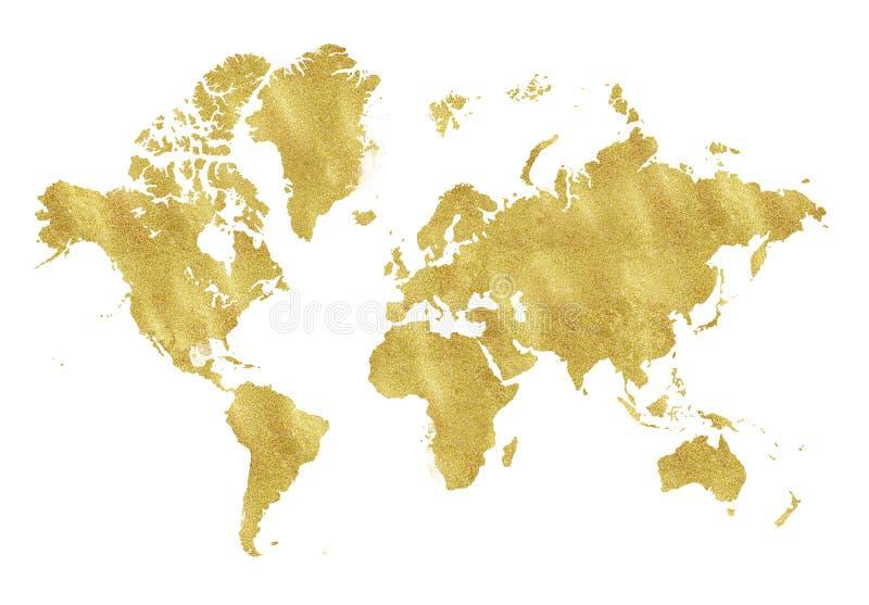 Винтажная карта золота на белой предпосылке Текстура носки, grunge, патина золота Шаблон для карточек, wedding приглашение, плака иллюстрация штока
